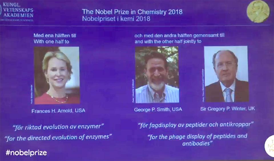 Нобелевскую премию похимии вручили заразработки вобласти контроля заэволюцией
