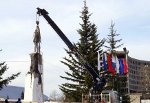 Памятник Ленину в Ленске снят в рамках реконструкции площади