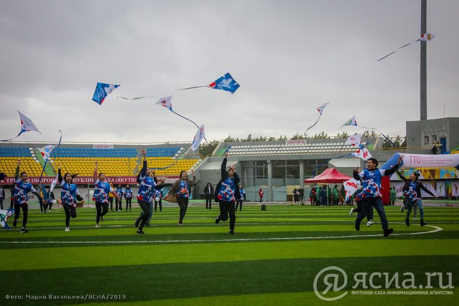 В Якутске провели «цифровую» зарядку и запустили в небо 22 воздушных змея