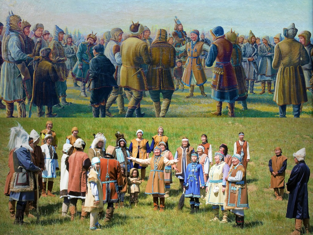 Картину «Якуты 17 века. Ысыах» оживили жители села Немюгюнцы