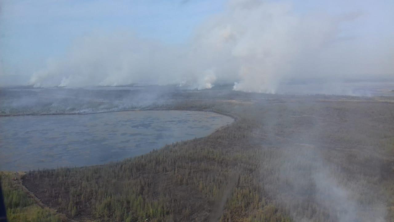 70 человек продолжают борьбу с природным пожаром возле села Эбях