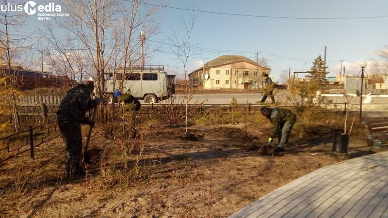 Убрали свалку, посадили деревья. В Сангаре благоустраивают территорию