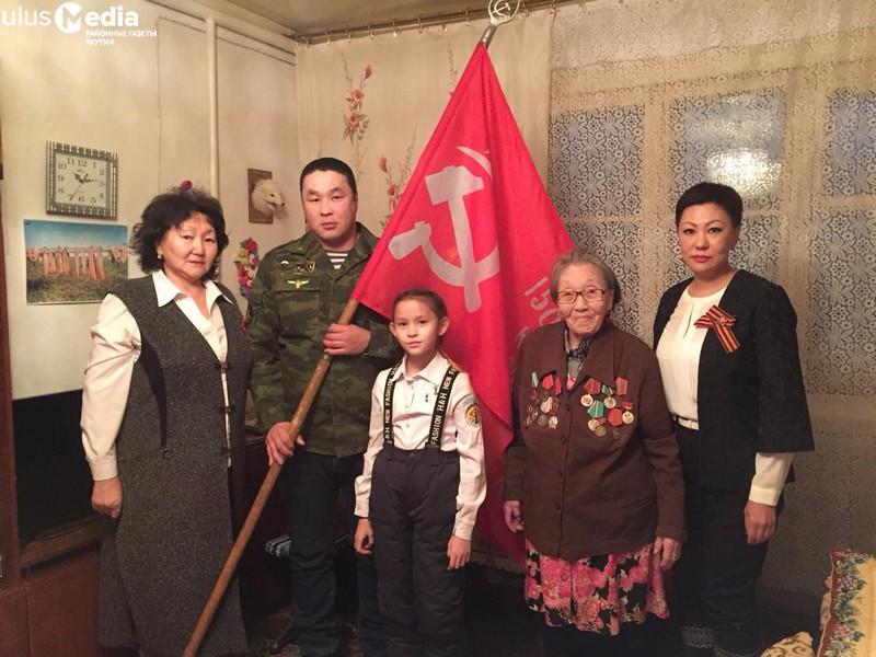 Знамя Победы побывало у ветеранов тыла - жителей Аллаихи