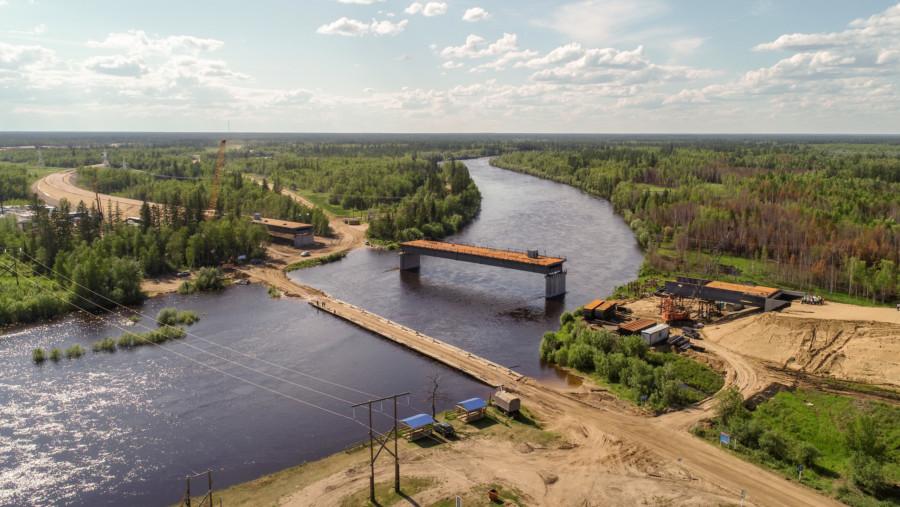 Хороший темп: Мост через реку Тюкян на трассе «Вилюй» уже построен наполовину