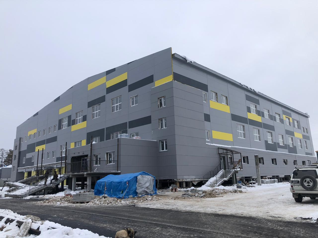 Строительство спортивного комплекса в Мегино-Кангаласском улусе Якутии подходит к концу