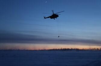 Ночной спуск. Спасатели Якутии десантировались из вертолета