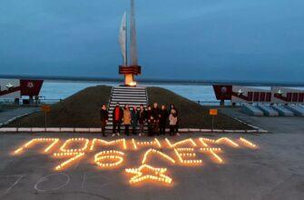 К Дню Победы. Хангаласская молодежь выложила свечами слова «Помним! 76 лет»