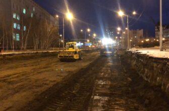 В Якутске на проспекте Ленина ведутся земляные работы по подготовке основания дорожного полотна