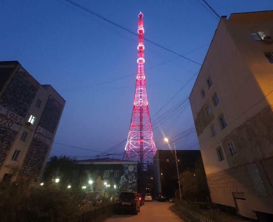 Подсветка Якутской телебашни будет включена 13 августа в честь дня рождения РТРС